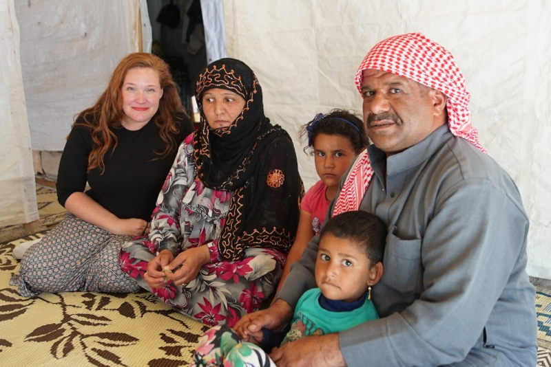 Megan with Syrian host family in ITS