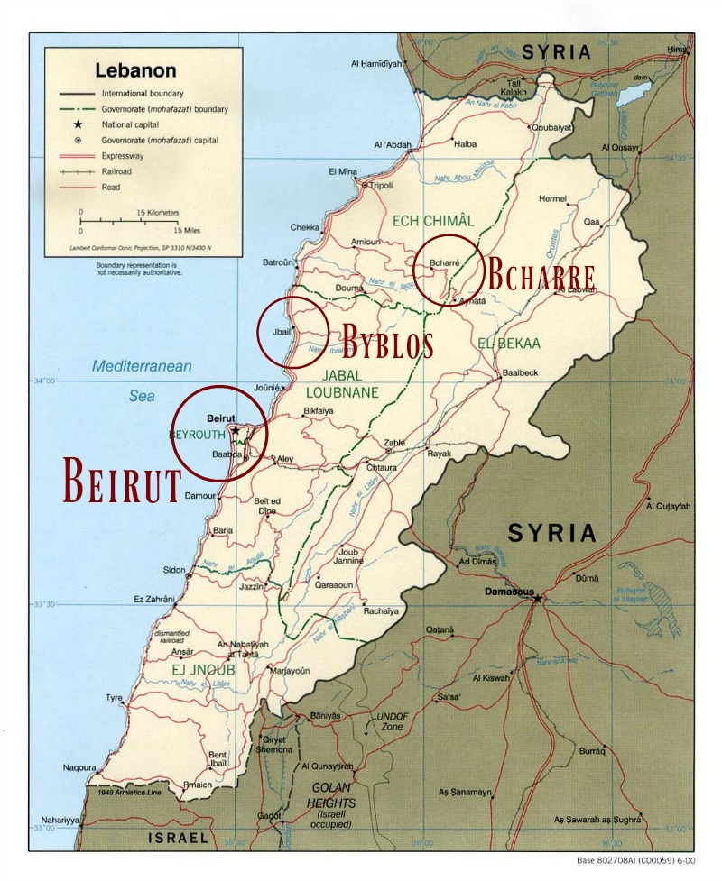 Map of Lebanon and cities mentioned in part one