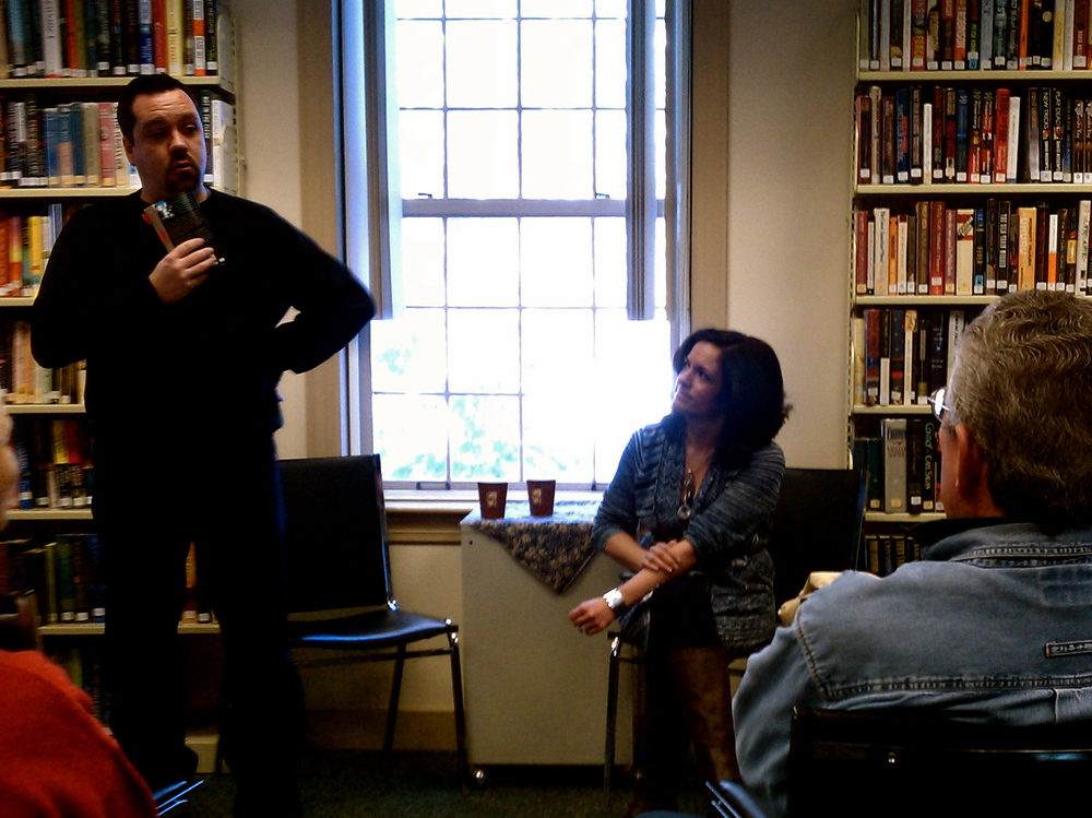 Kevin and Rebecca hold a book discussion at the library in Tuftonboro, NH. Library crowds have some of the best questions.