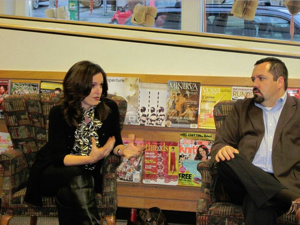 Rebecca and Kevin doing a book discussion on  Our Little Secret  at Gibson's bookstore in Concord. Their style is less about reading and more about having a dialog with the audience.