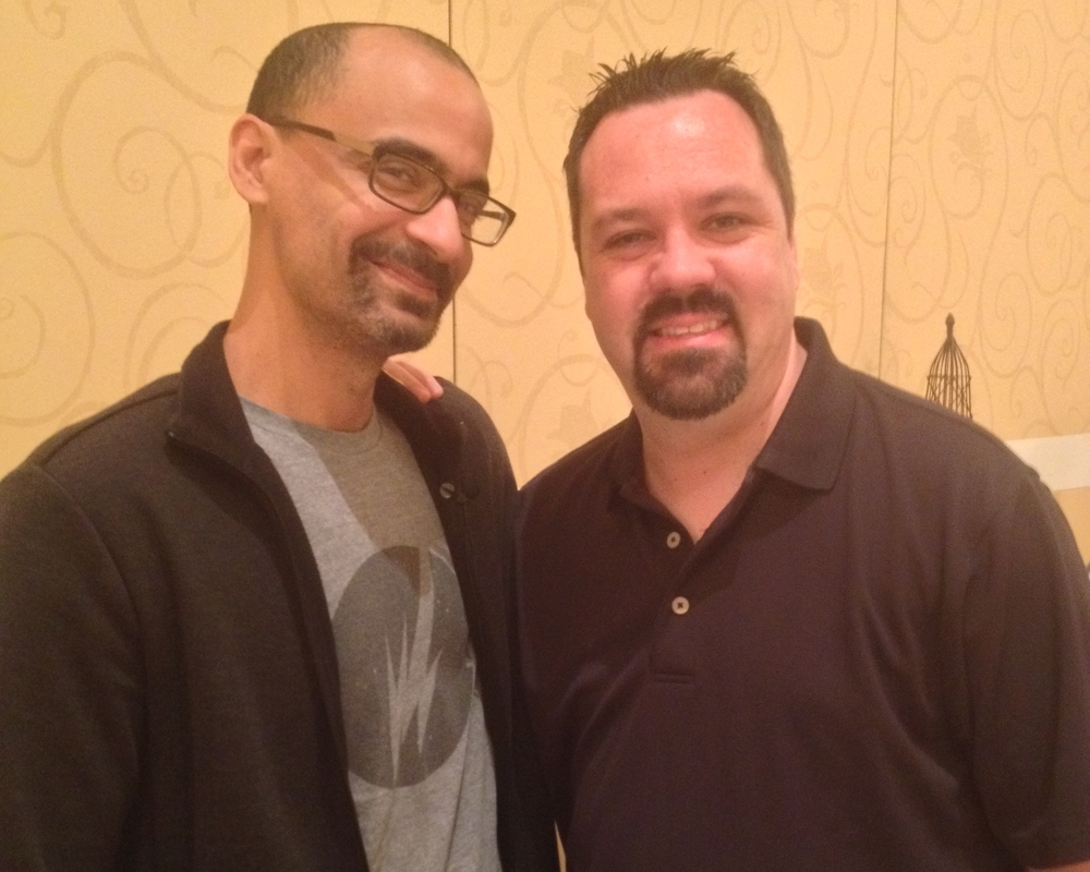 "Kevin with Pulitzer Prize winner for  The Brief Wondrous Life of Oscar Wao,  Junot Diaz. Kevin reports the acclaimed author was ""pretty cool."""