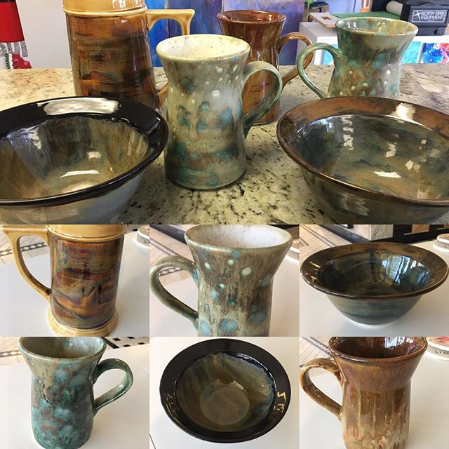 Results from stoneware workshop. Love them. #kre8artstudio #monroect #stoneware #stonewarepottery  #maycoatwork