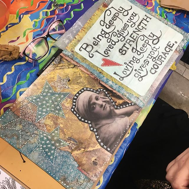 Art journaling. Love the inspiration and the company. #kre8artstudio #monroect #artjournal