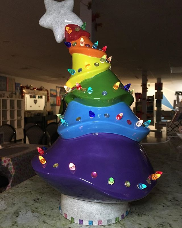 Love is Love is Love is Love... #kre8artstudio #paintyourownpottery #loveislove #rainbowchristmastree #rainbowflag