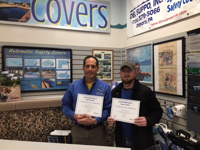 "Owner Del ""Buster"" Suppo and Tim Andrews with their Certificate of Completion for the dealer school that was put together by Cover Pools."