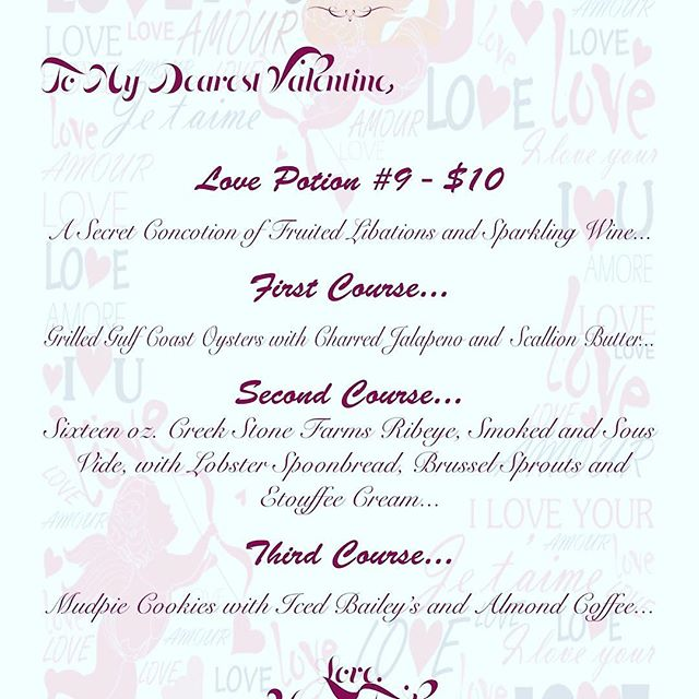 Our Valentine's Couples Menu launches tomorrow. $99 per couple. Three courses! We think you're going to love it!