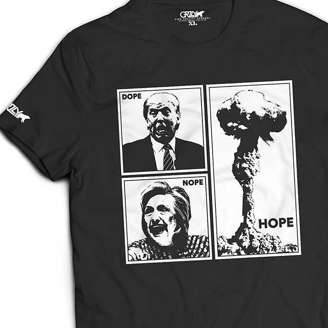 "LAST DAY TO ORDER! The limited edition ""No Hope in Dope"" crewnecks are going on the press tomorrow and will be shipped in time for the election. All orders must be in by tonight. Available in sizes XS-XXXL.  WWW.THATGRZLY.COM"