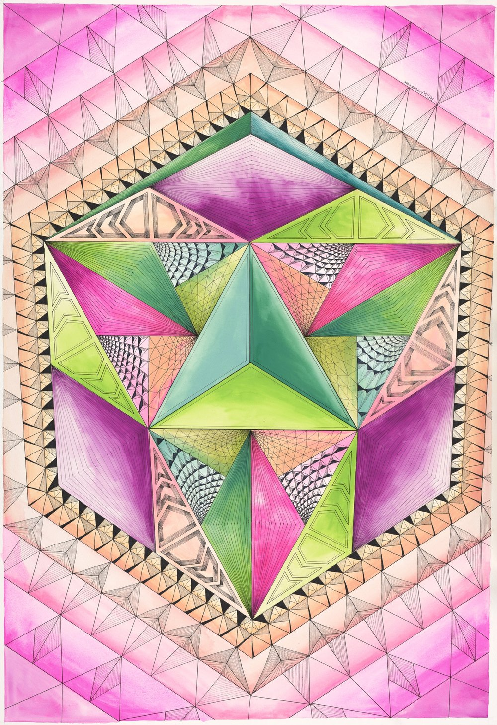 """Kaleidoscope in pink and green"""