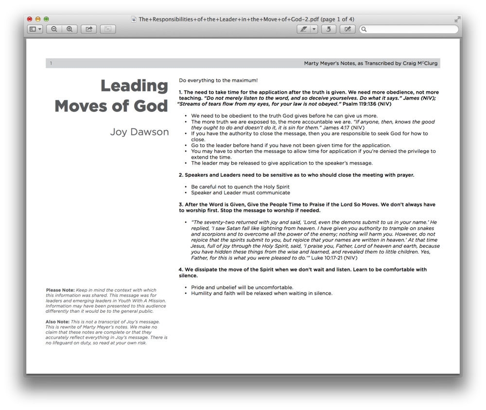 The full title of this amazing resource is  The Responsibilities of the Leader in a Move of God.  It's some notes from one of Joy Dawson's teachings. You need this.