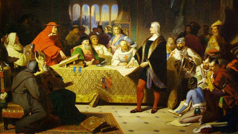 Columbus Before the Council of Salamanca -- by William Henry Powell (1847)