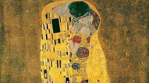 The Kiss  by Gustav Klimt  - -   Wikimedia Commons (Public Domain)