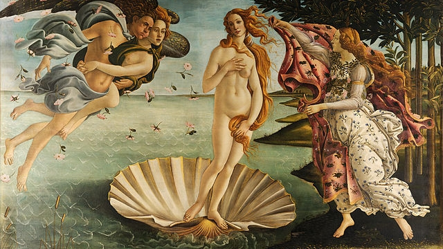 The Birth of Venus, by Sandro Botticelli (c. 1486) -- Wikimedia Commons (Public Domain)