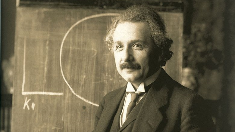 Albert Einstein  during a lecture in Vienna in 1921 — Wikimedia Commons (Public Domain)