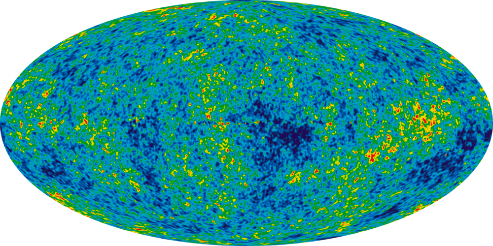 Leftover heat from the Big Bang (background radiation), by NASA -- Wikimedia Commons (Public Domain)