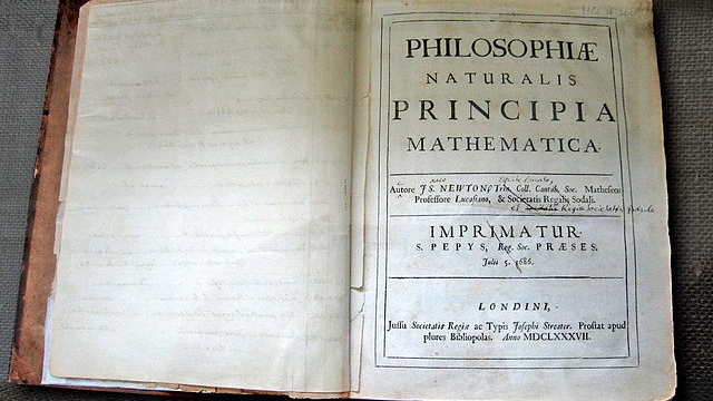 Isaac Newton's own first edition of the  Principia  — Andrew Dunn ( Wikimedia ,  Creative Commons License )
