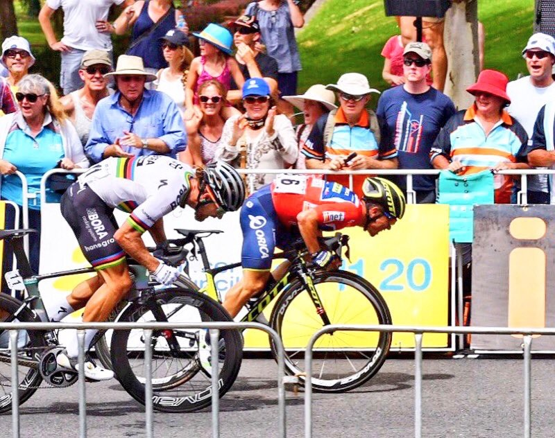 Caleb Ewan (Orica Scott) takes every sprint this week! And ahead of the World Champ!! Photo: Kirsty Baxter