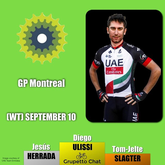The second Canadian one day race #GPCQM was taken in a six man sprint by @diego.ulissi @uae_team_emirates ahead of @jesushl90 @movistar_team and @tjslagter @rideargyle