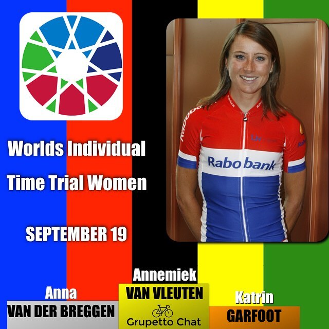 After an amazing season @annemiekvanvleuten @oricascott takes the rainbow jersey for the elite women's individual time trial ahead of compatriot @annavdbreggen and teammate @katrin_garfoot #bergen2017 #worlds