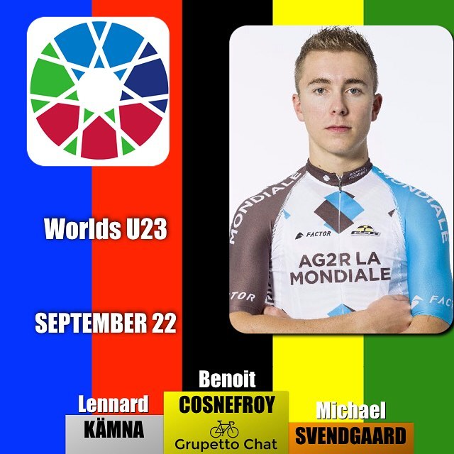 In the U23 World Championship @benoit.cosnefroy @ag2rlamondiale_procyclingteam takes the rainbow Jersey ahead of @lennardkaemna and @michaelcarbel #bergen2017