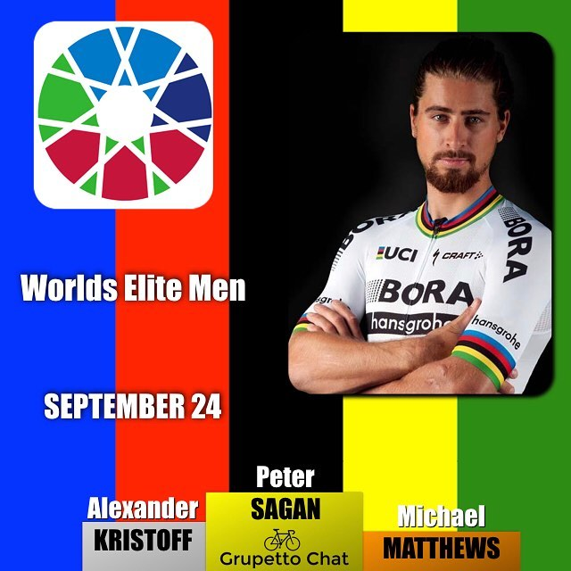 A historic 3 peat for @petosagan taking his third World Championship in a row this time ahead of @kristoff87 and @bling90 #bergen2017 #sagan