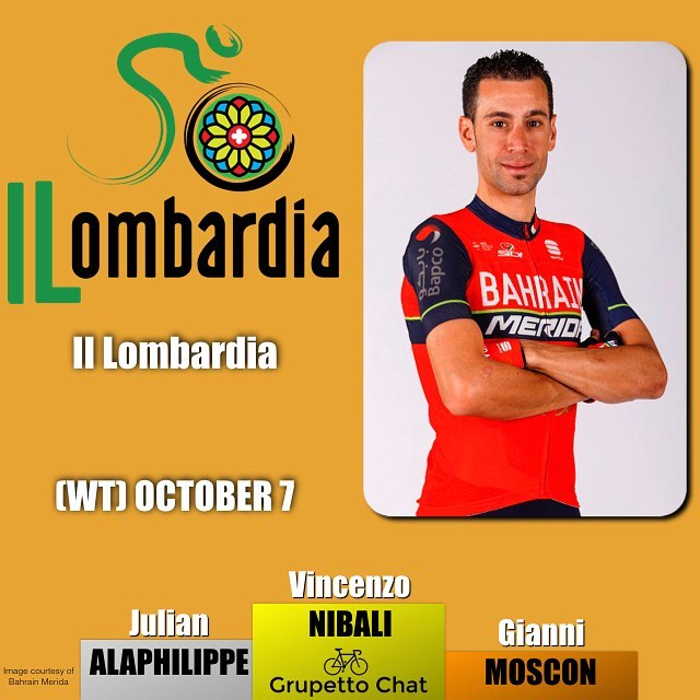 Victory for @vincenzonibali @bahrain_merida at #iLombardia the final monument of the season. @alafpolak @quickstep_team and @giannimoscon @teamsky round out the podium