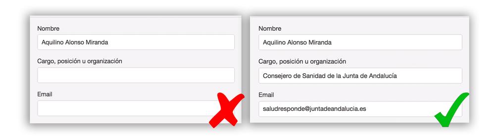 Cómo introducir el destinatario de tu petición