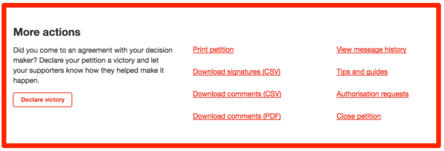 In the 'dashboard' area of the petition you will see the options to download your signatures under the 'more actions' section.