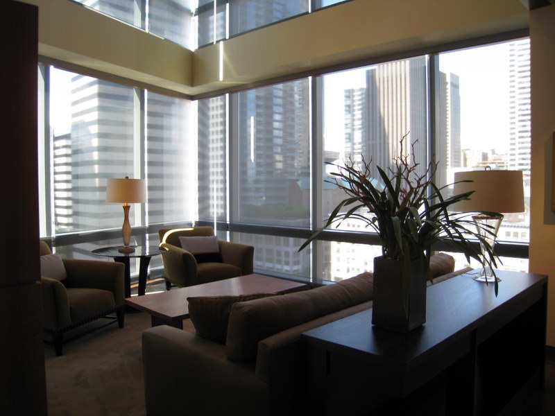 Given the strong backdrop of high rise buildings, recessed translucent shades and table lamps helped to provide an inward focus.