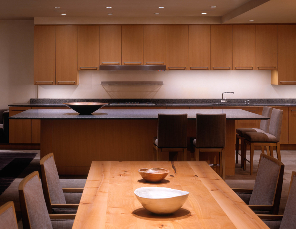Kitchen lighting was designed to provide excellent task lighting as well as accentuate the custom cabinetry.