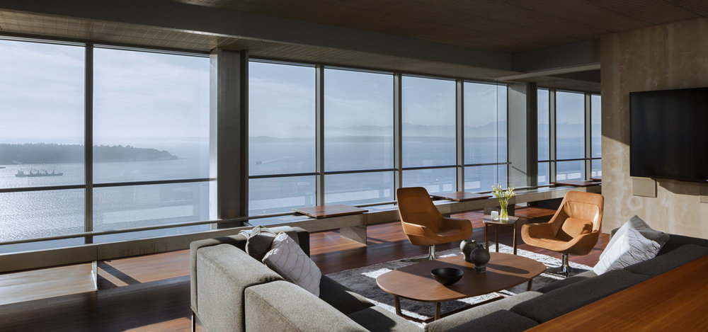 On the 22nd floor of a tower overlooking Puget Sound lives an open core work space where the exterior is as important as the interior.