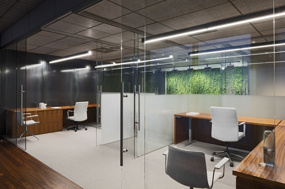 Suspended LED channels in glass cubicles emphasized the core in contrast to the vertical green walls beyond.