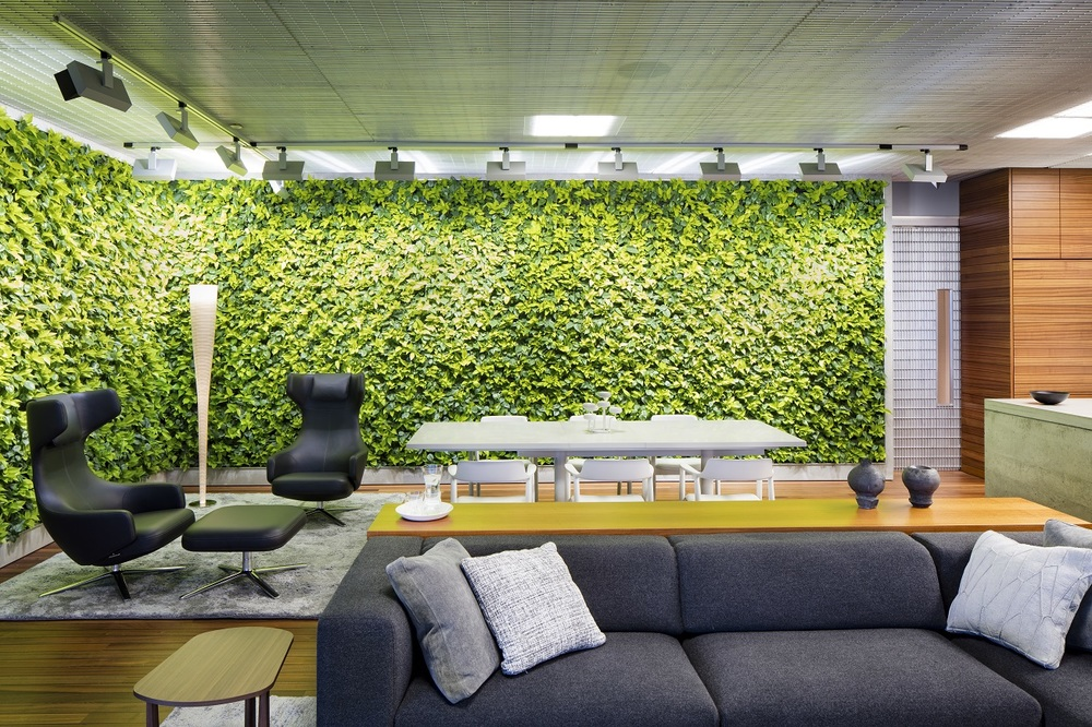 The live green walls require an even distribution of 220 footcandles at 4000 degree kelvin light to maintain the plant life. All plant lighting is preset on a control system to half the light output during the day.