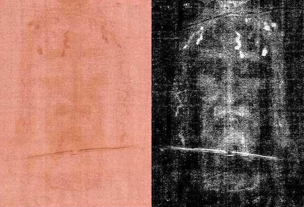 shroud face close up - italian photographer secondo pia, the first to photograph the shroud in 1898, discovered that the image on the shroud (left) was actually a negative image (light and dark inverted) when his actual negative (right) turned out to be a positive as it developed in his darkroom.