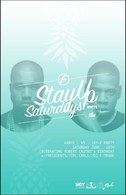 Stay Up Saturday's Kanye vs JAY-Z Party w/ Birthday Host Robert Castro & Friends. w/ Residents CRL CRRLL & DJ E-TRANE VS Mikey Fresh ( Souls City ) + surprise guest Music:soundcloud.com/soulcitystudios Instagram - Twitter @MikeyFreshMusic Snapchat: MikeyFresh303