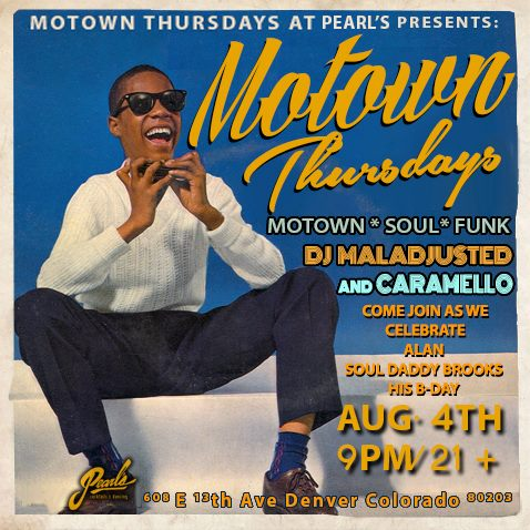 Tonight at Pearl's Motown Groove Presents: Motown Thursdays Come down as we Celebrate our good Alan Soul Daddy's birthday! With your Residents: DJ Maladjusted & Caramello aka Miggy Camacho A night of Motown,Soul,Funk and You Nichole Marchese at the door and host Free Chicken and waffles with any purchase of a drink! With Victor behind the Chicken and waffles!!! $4 Breckenridge Brewery beers / $4 Deep Eddy Vodka Party kicks off at 9pm. / 21+ / $3 after 10pm https://www.facebook.com/events/176339026113730/