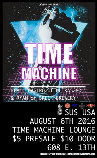SUSUSA + ULTRA5280 + BRECK BREWERY Present: TIME MACHINE A party night to take you back into time. A night of nastalgia and music. Bringing your your favorite retro, new wave, freestyle, 80's, Brit Pop, Old School, and more. Guest Dj's: Robert Castro of Ultra5280.com & Ryan Workman of Breckenridge Brewery  Residents:  CRL CRRLL // DJ E-TRANE Get tickets: https://www.eventbrite.com/e/sususa-time-machine-tickets-26729041282 $5 Presale $10 Door 21+ 9pm Brought to you by FASOR Breckenridge Brewery Ultra5280 SKYY VodkaRed Bull Pearl's