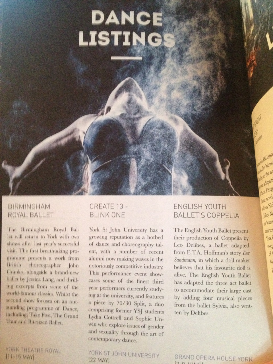 Just spotted 70/30 Split in the Dance Listings in  One&Other  magazine!   Really happy to be doing some performances in our home city.    We will be performing at part of the Create 13 Festival hosted at York St John University. Something new for 70/30 Split is that we will be doing an outdoor performance as part of the Dance Trail on the 21st May it will start at 1pm at York St John University and end at the National Rail Museum.   We will then be showcasing Two do: A performance as part of the Blink One Dance Platform on the 22nd May at 6pm.   Full details of the Dance line-up for the Create 13 festival can be found  here.