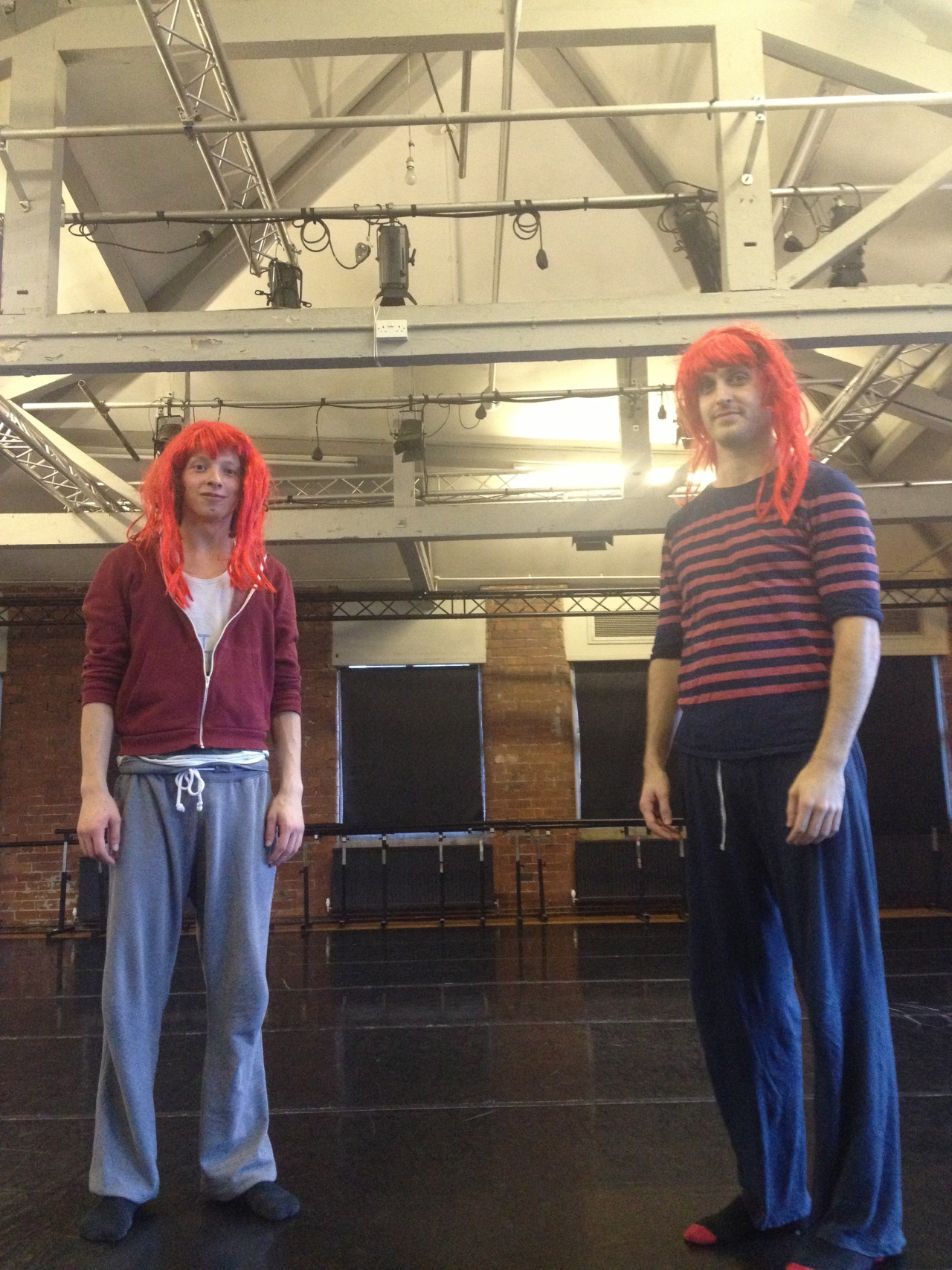 70/30 Split have been in the studio at Yorkshire Dance for the past few days. Getting ready for or next tour dates for Content part 1: and also working on some new stuff!   We had Adam and Andy from NSCD come and work with us today. We thought it fitting for them to wear some red wigs.   Amazing news: local York magazine One&Other have featured us in their Dance Spotlight you can see the article  HERE.    Also dont forget tickets for Resolution! on the 13th February our London premiere are on sale get them  HERE.