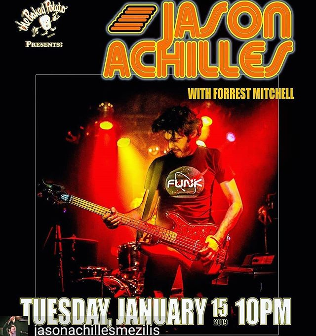 Gonna be playing some drums for @jasonachillesmezilis this Tuesday at @bakedpotatojazzclub  Come through and grab a drink and a big ass tater.