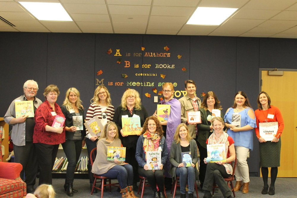 Back row: Charlie Barshaw, Ruth McNally Barshaw, Heather Smith Meloche, Kelly DiPucchio, Denise Fleming, Jordan Scavone, Timothy Dziobak, Kathy Higgs-Coulthard, Sierra Masson, Amy Nielander      Front row: Dena Albergo Jayson, Wendy BooydeGraaff, Kristin Bartley Lenz, Debbie Diesen    (photo credit: Maggie and Paula Sanders Sandefur)
