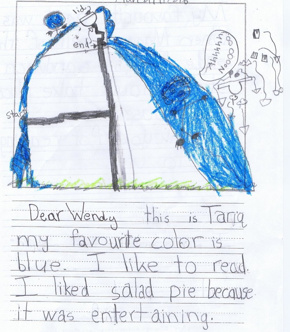 Tariq H. from Mississauga, Ontario, reimagined Salad Pie, falling down the slide, and his teacher sent me this detailed (and labeled!) drawing. Thank you, Tariq!