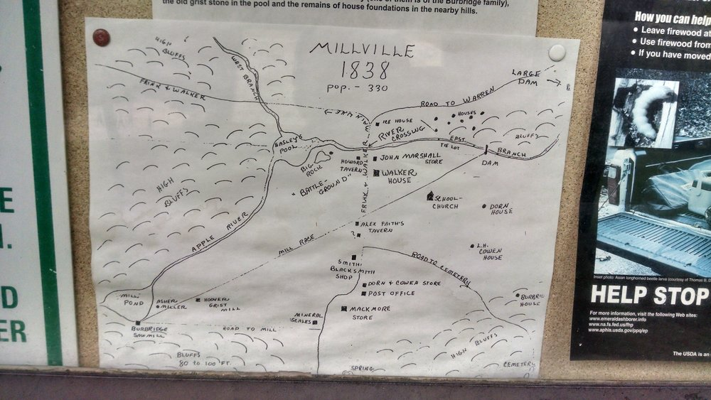 This map was drawn by a surviving resident in  1897, and is most of what is known about the town of Millville.