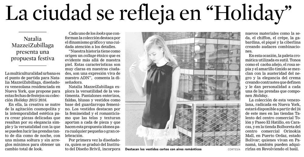 Diario EL UNIVERSAL - Noviembre 2015