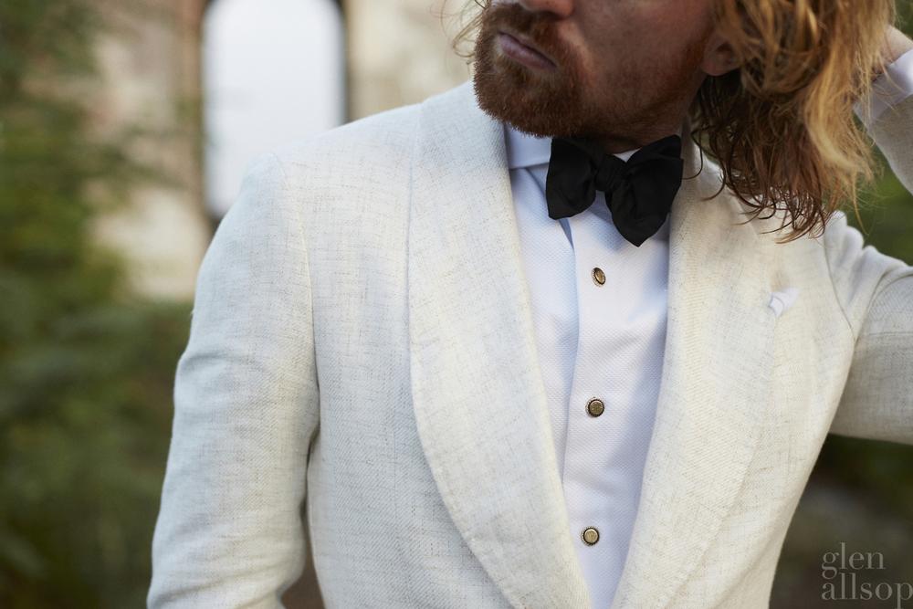 linen tuxedo jacket-eidos-bogart dinner jacket