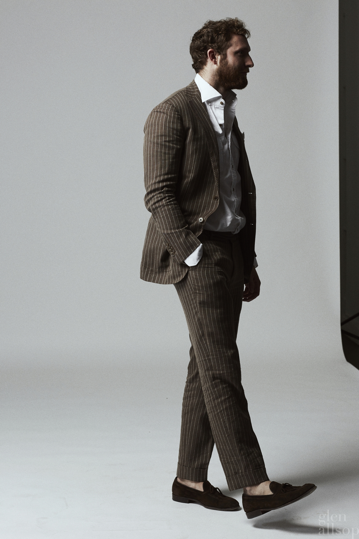 quinton clemm-eidos-brown linen suit-eidos-pinstripe