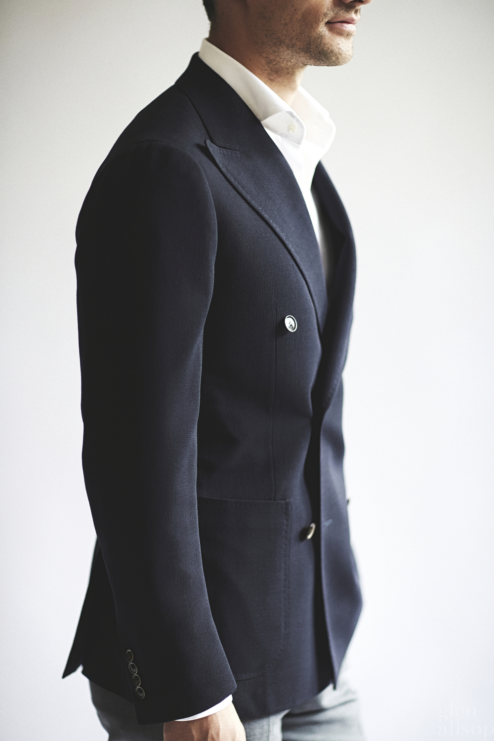 perfect shoulder-navy double breasted-suit-ring jacket