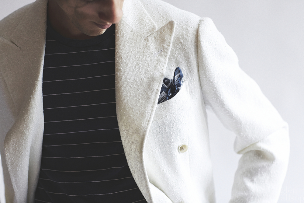 white textured jacket-ring jacket-luxe sandpaper