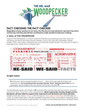"""Spotlight 7/2017 - """"Fact Checking the Fact CheckerRegardless of your position on an issue, the City Council was elected to represent the entire community, and they owe all their constituents a high standard of decision-making."""""""