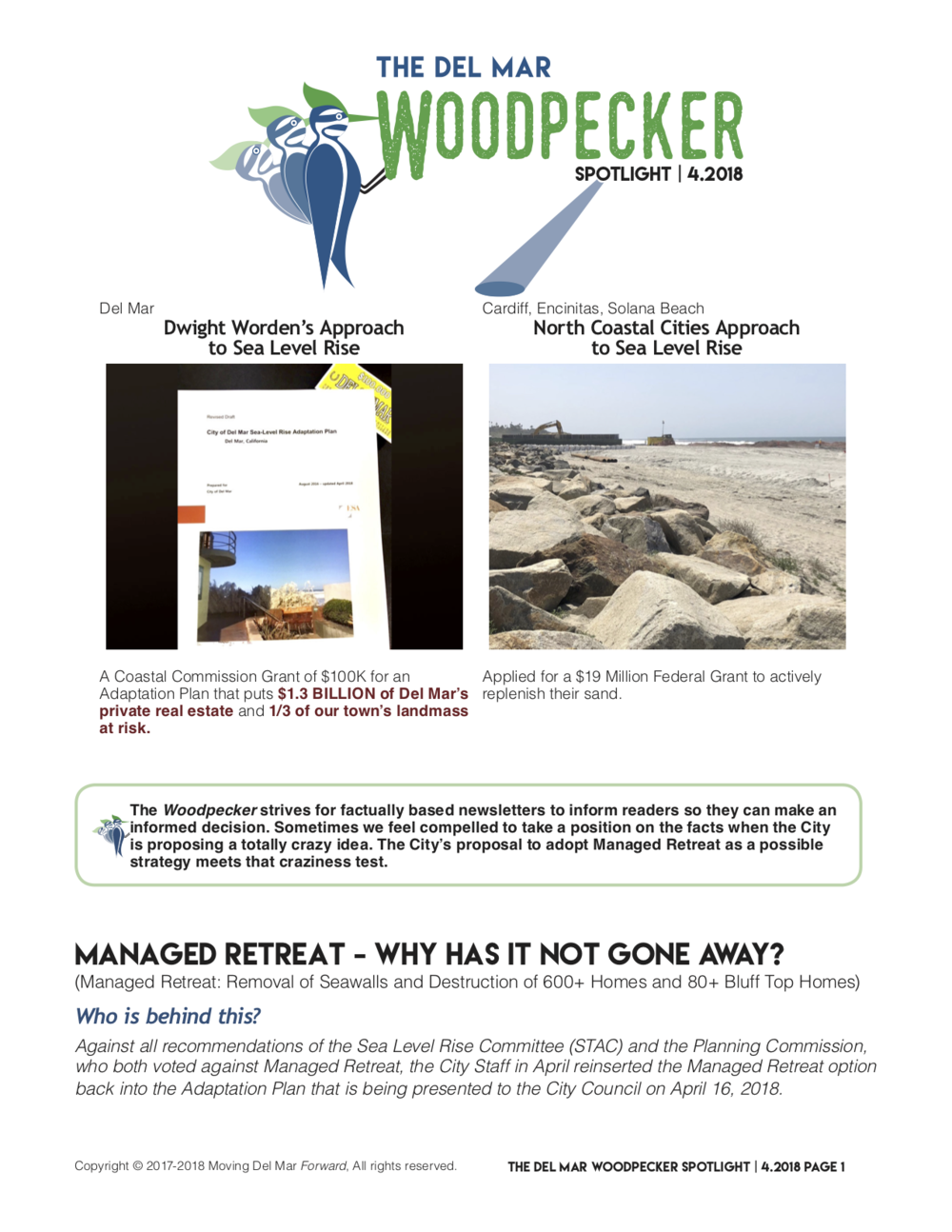 """Spotlight 4/2018 - """"The City Staff in April reinserted the Managed Retreat (removal of Seawalls and Destruction of 600+ Homes and 80+ Bluff Top Homes) option back into the Adaptation Plan"""""""