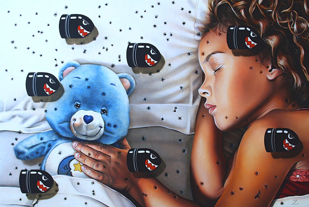 """Bedtime Bear"" Oil on Panel. 20"" X 30"""